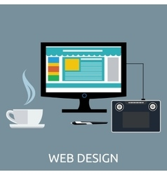 Web design graphic tablet and tool vector