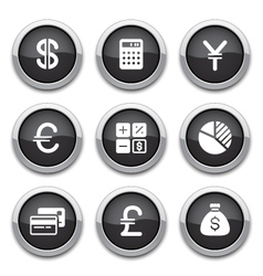 Black finance buttons vector