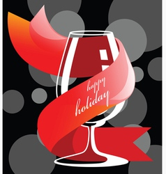 Holiday drink glass vector