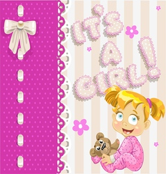 Its a girl openwork card for your announcement vector image