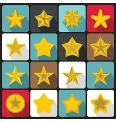 Star icons set flat ctyle vector