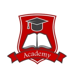 Academy shield emblem icon for university vector