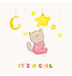 Baby girl cat sleeping on a star - baby shower vector