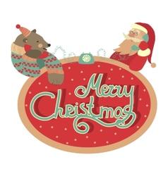 Bear and Santa Claus talking by phone vector image vector image