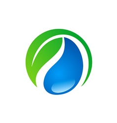 bio green leaf ecology water logo vector image
