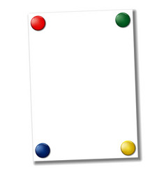 blank a4 paper fixed with colored magnets vector image