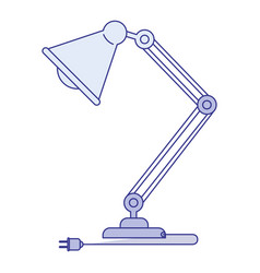 Blue shading silhouette of modern desk lamp vector