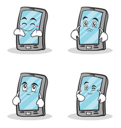 collection smartphone cartoon character set vector image