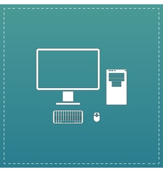 Computer case with monitor keyboard and mouse icon vector