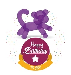 Cute balloon cat happy birthday confetti ribbon vector