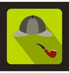 Detective sherlock holmes hat smoking pipe icon vector
