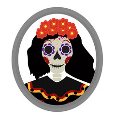 Dia de los muertos calavera katrina icon day of vector