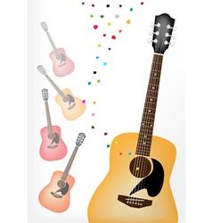 Elegance Guitar on Colorful Guitars Background vector image