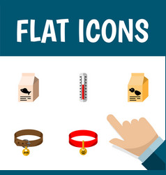 Flat icon pets set of hound necklace fish vector