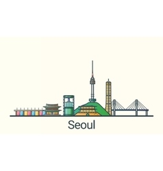 Flat line Seoul banner vector image