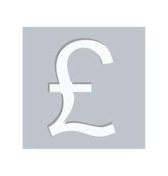 Gray square with currency symbol of sterling pound vector