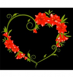 heart frame of hibiscus flower vector image vector image