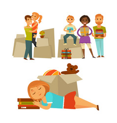 home move people moving new house flat vector image