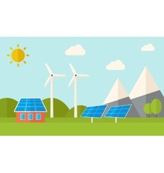 House with solar panels and wind mills vector