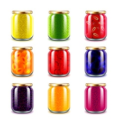 Jam jars icons set vector image