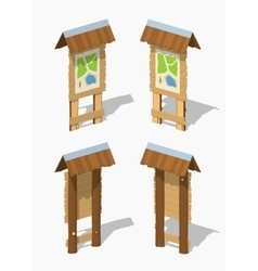 Low poly information stand with the paper map vector image vector image