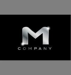 M silver metal letter company design logo vector