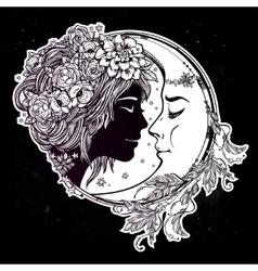 Magic night fairy with a moon vector