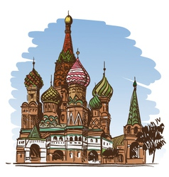 Moscow Saint Basils Cathedral drawing vector image vector image
