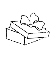 Open gift box ribbon birthday event sketch vector