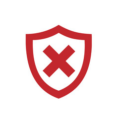 red unprotected shield icon on a white background vector image