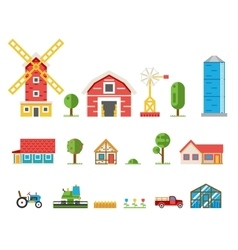 Rural buildings cottages tractor combine pickup vector image vector image