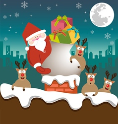 Santa claus and Reindeer send gifts on chimney vector image vector image