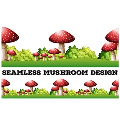 Seamless background with mushroom on the ground vector image vector image