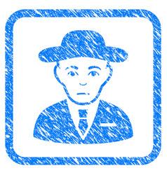 Secret service agent framed stamp vector