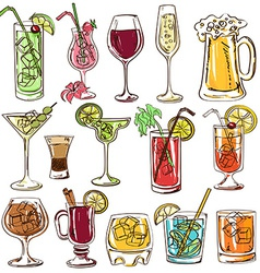Set of isolated colorful cocktails vector