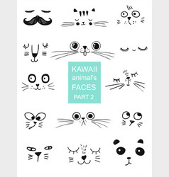 set of kawaii animals faces trendy vector image