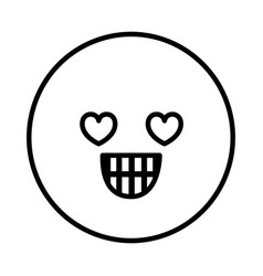 Silhouette emoticon in love face expression vector