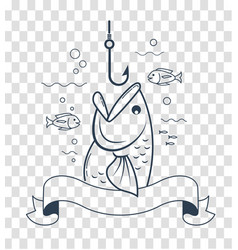 silhouette fishing with an open mouth vector image vector image