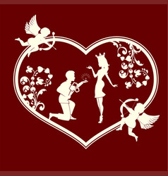 Silhouette of a heart with cupids and a couple in vector