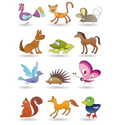 Toys with animals for kids icons set vector image vector image