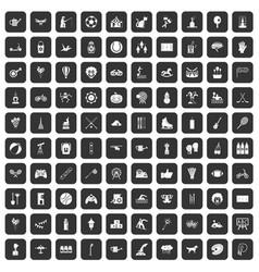 100 kids activity icons set black vector image