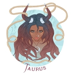 Astrological sign of taurus as a african girl vector