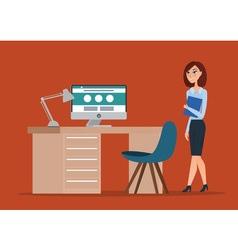 Business woman cartoon concept creative color flat vector