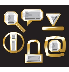 Gem icons with diamond vector