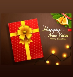 Gift box merry christmas happy new year vector