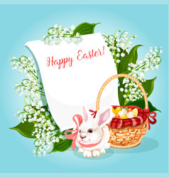 Easter rabbit egg greeting card with copy space vector