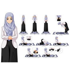 Complete set of muslim woman prayer position guide vector