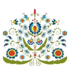 Polish folk with decorative floral vector