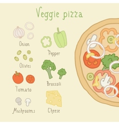 Veggie pizza ingredients vector