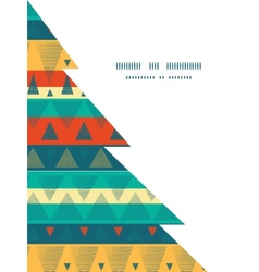 Vibrant ikat stripes christmas tree silhouette vector